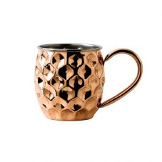 Solid Copper Dented Rounded Mug with Nickel Lining 48cl 17oz